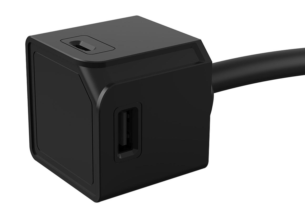 USBcube 10467BK 2 x USB-A + 2 x USB-C / 1.5М КАБЕЛ; ЧЕРЕН