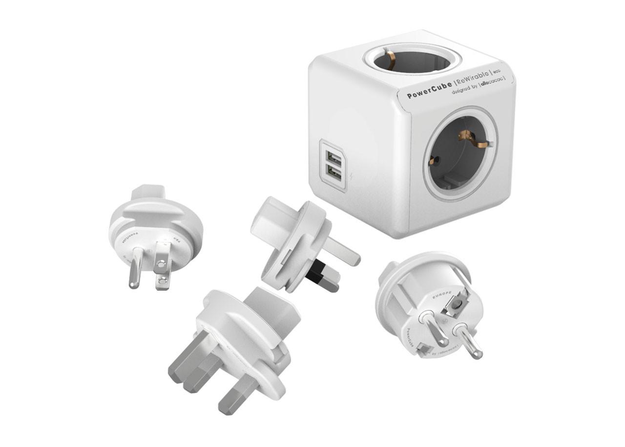 Разклонител Power Cube 1810GY сив 4 гнезда - USB - Травел кит