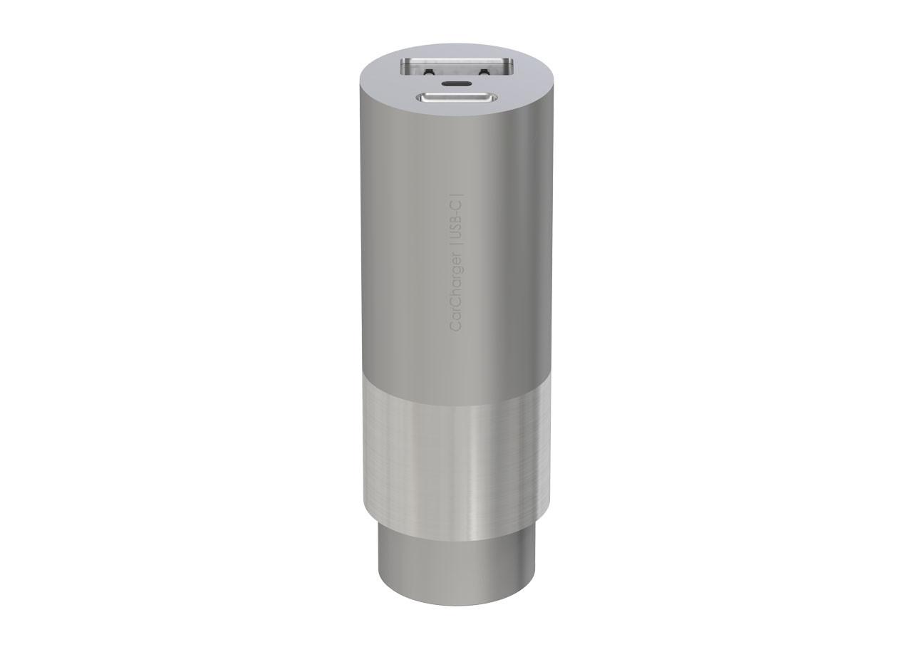 Зарядно Car Charger USB + USB-C; СРЕБРИСТ