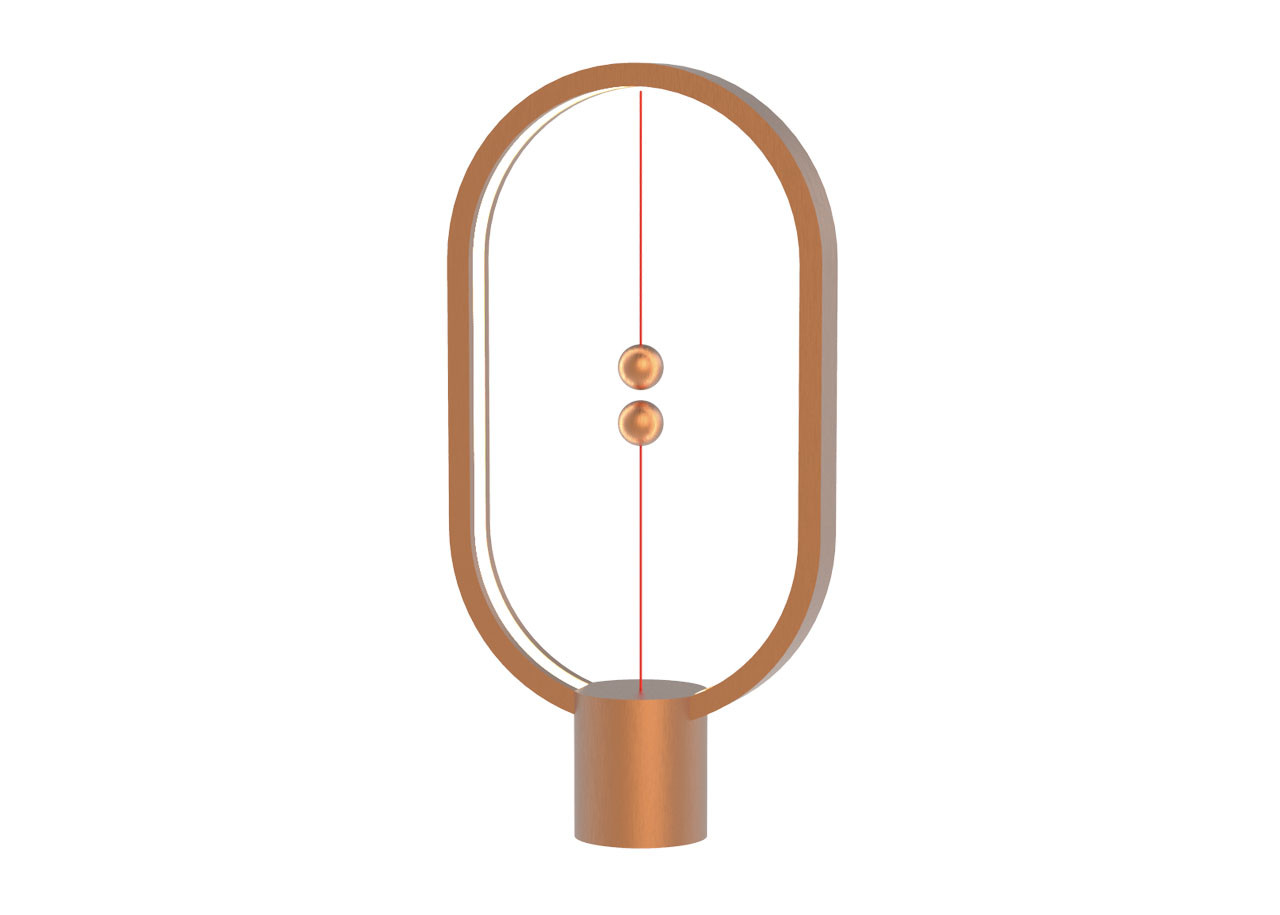 LED лампа Heng Balance DH0037 - Елипса - Пластмаса - USB C - Батерия - Меден