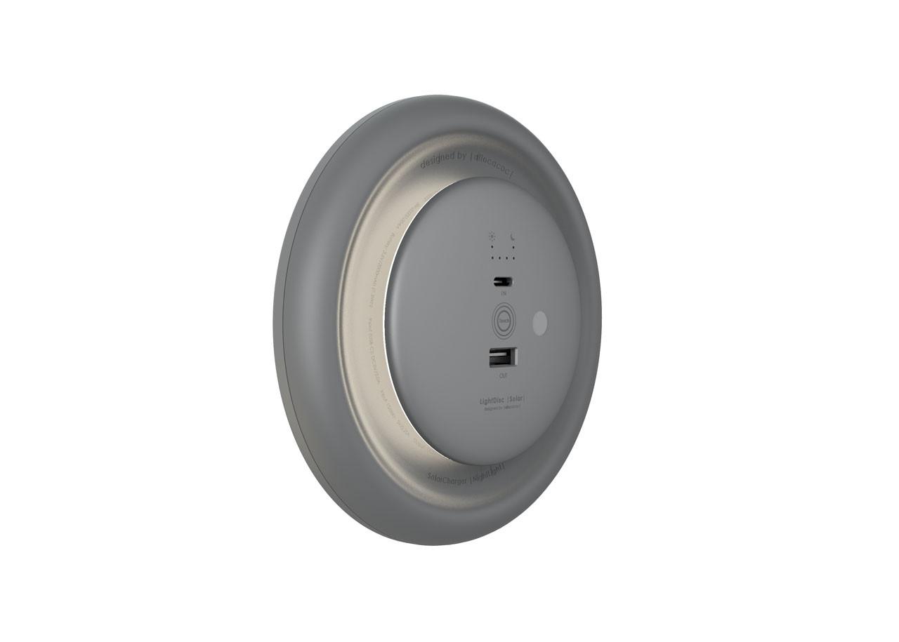 LED соларна лампа LightDisc Solar 10914GY - Батерия - USB C - Сива