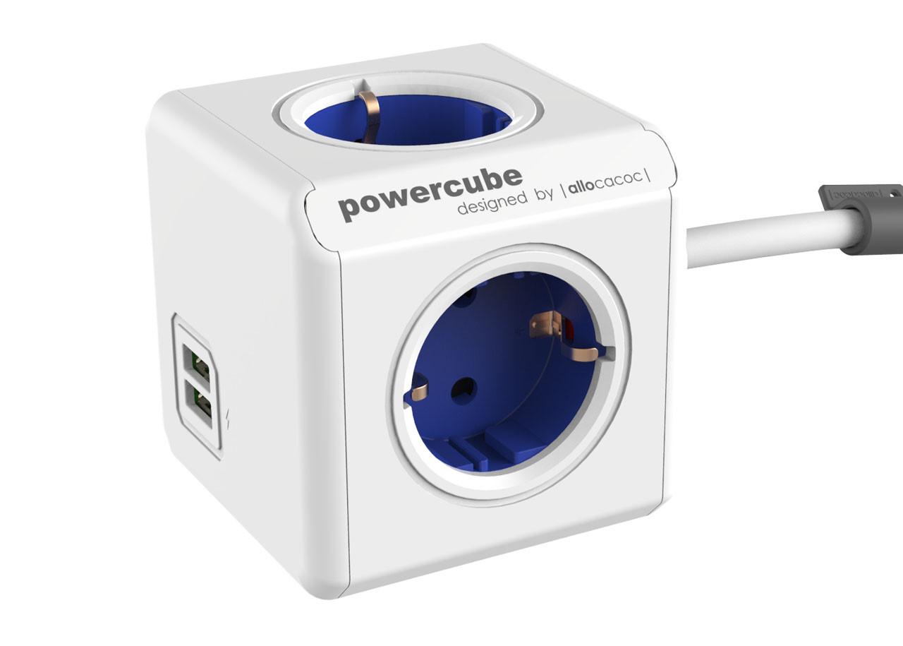 Разклонител Power Cube 1402BL 4 гнезда - USB - 1.5м кабел