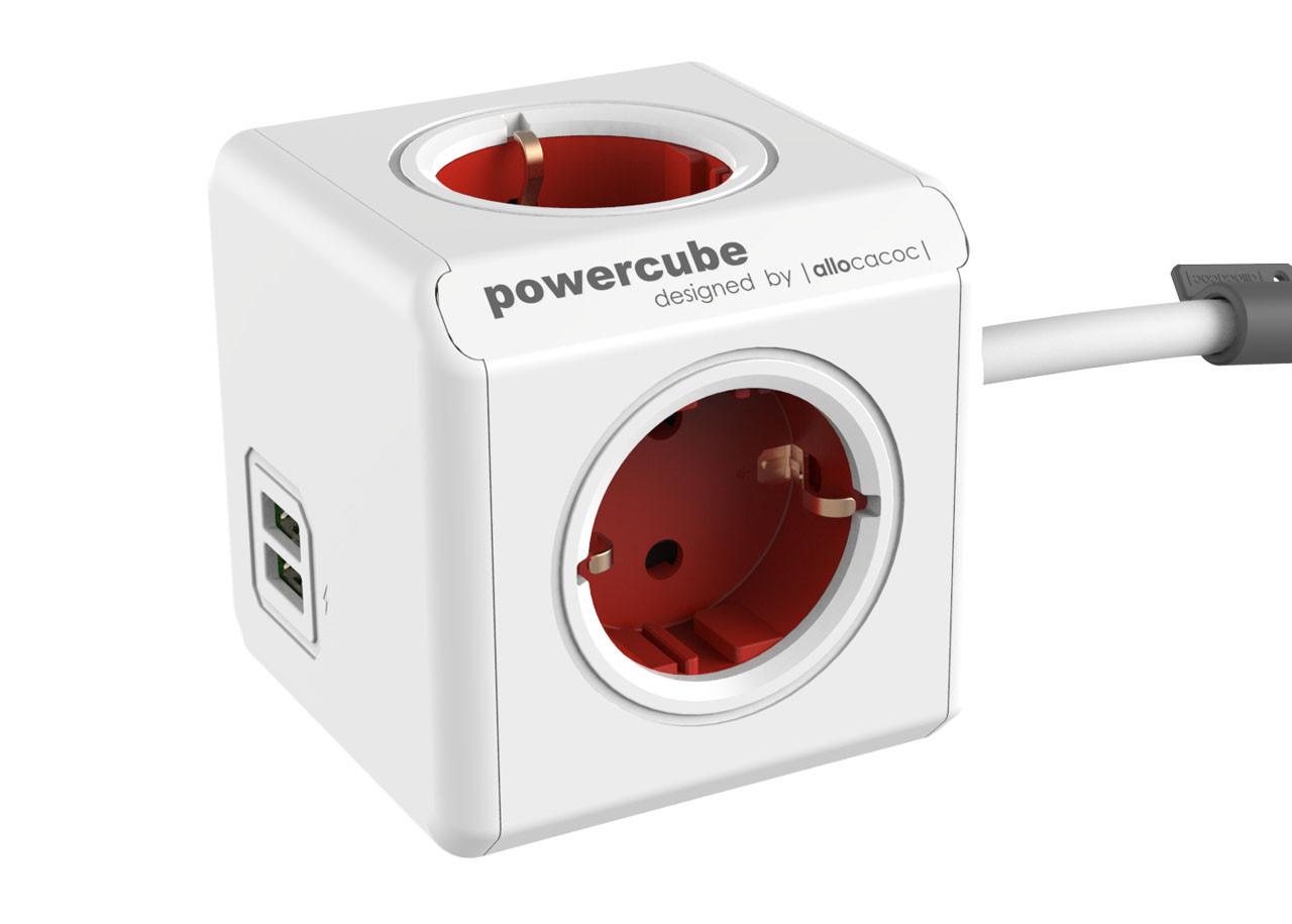 Разклонител Power Cube 1402RD 4 гнезда - USB - 1.5м кабел