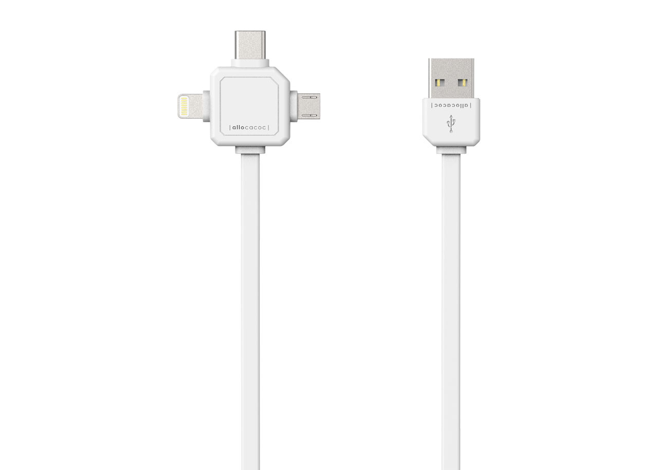 USB кабел 9003WT бял - USB Type-C, Apple Lightning, Micro USB