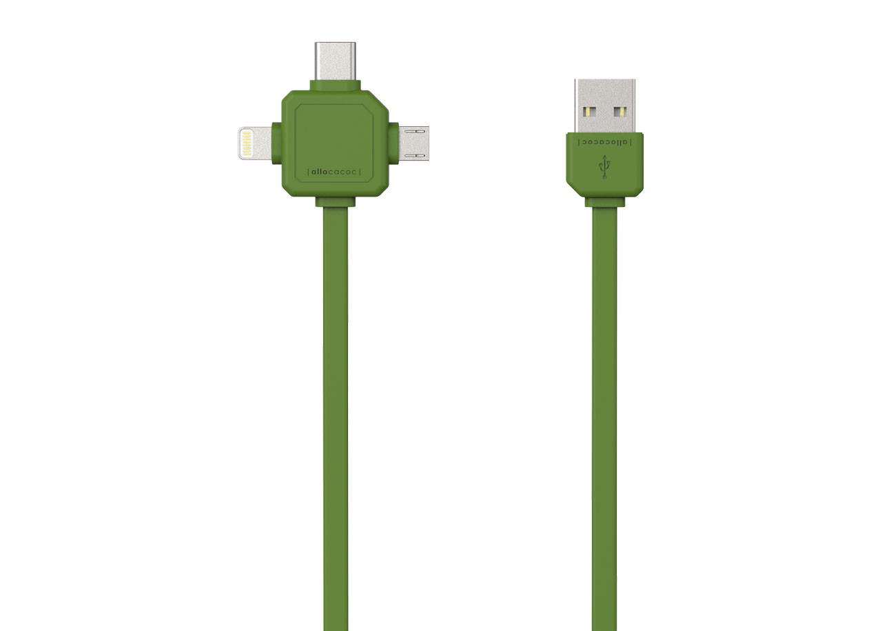 USB кабел 9003GN зелен - USB Type-C, Apple Lightning, Micro USB