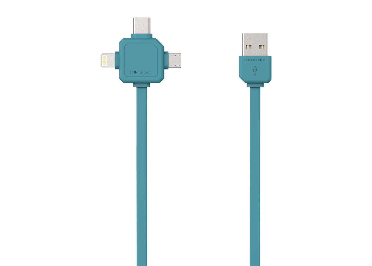 USB кабел 9003BL син - USB Type-C, Apple Lightning, Micro USB