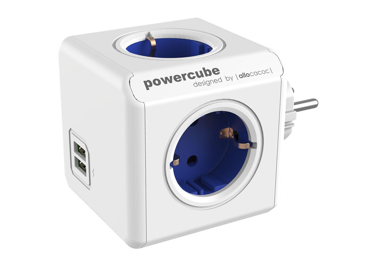 Разклонител Power Cube 1202BL 4 гнезда - USB