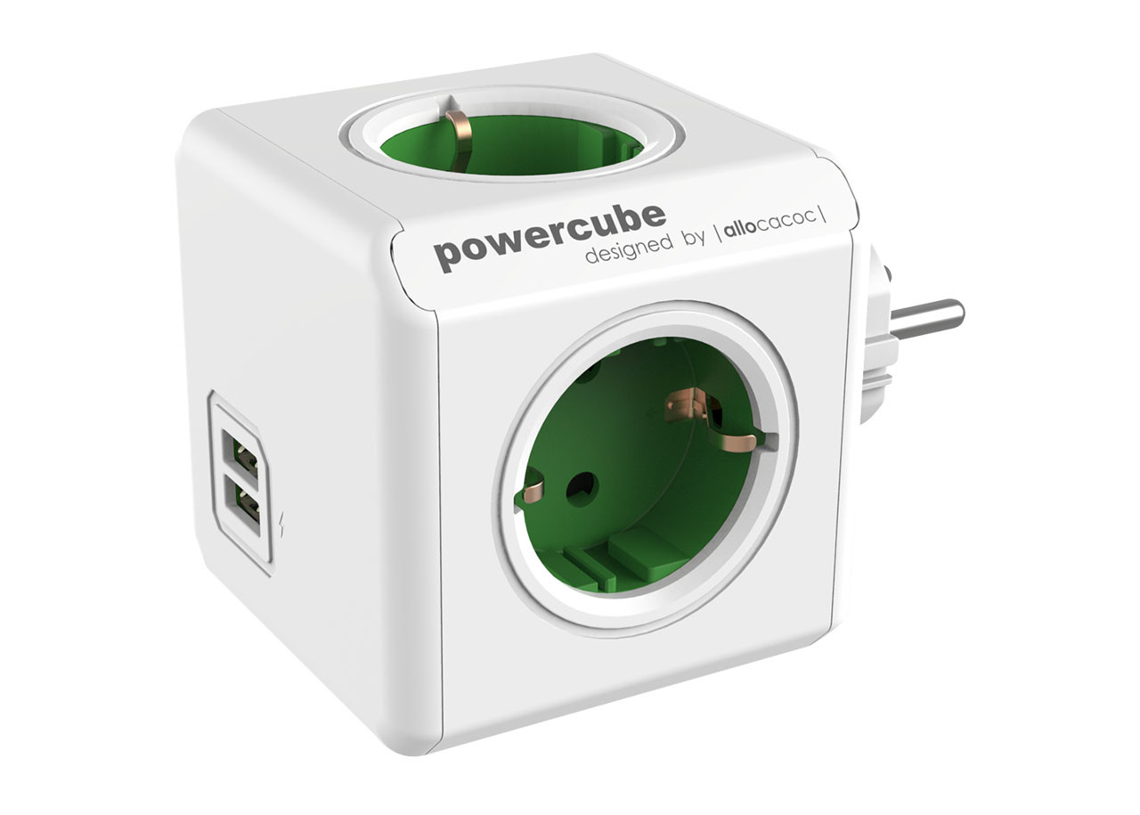 Разклонител Power Cube 1202GN 4 гнезда - USB
