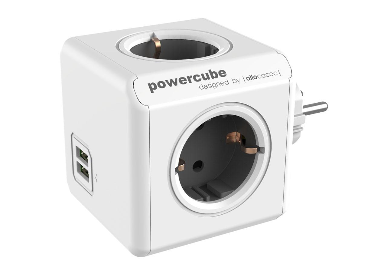 Разклонител Power Cube 1202GY 4 гнезда - USB